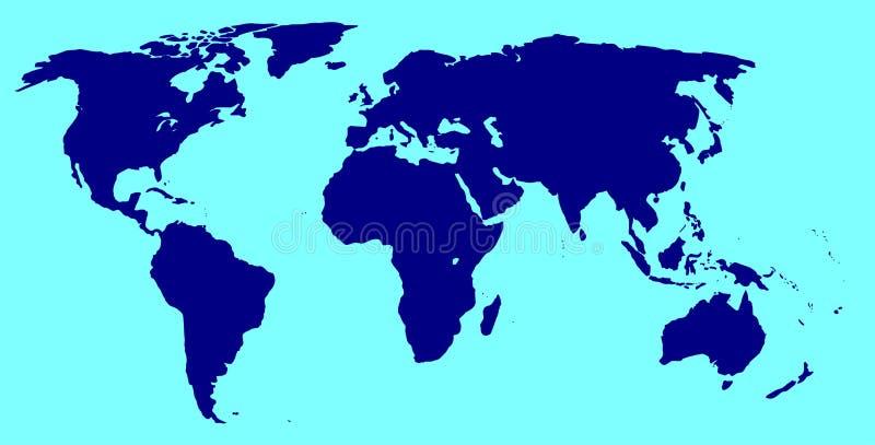 Wereldsilhouet in Blauw vector illustratie