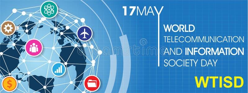 Wereldtelecommunicatie en Informatiemaatschappij Dag vector illustratie