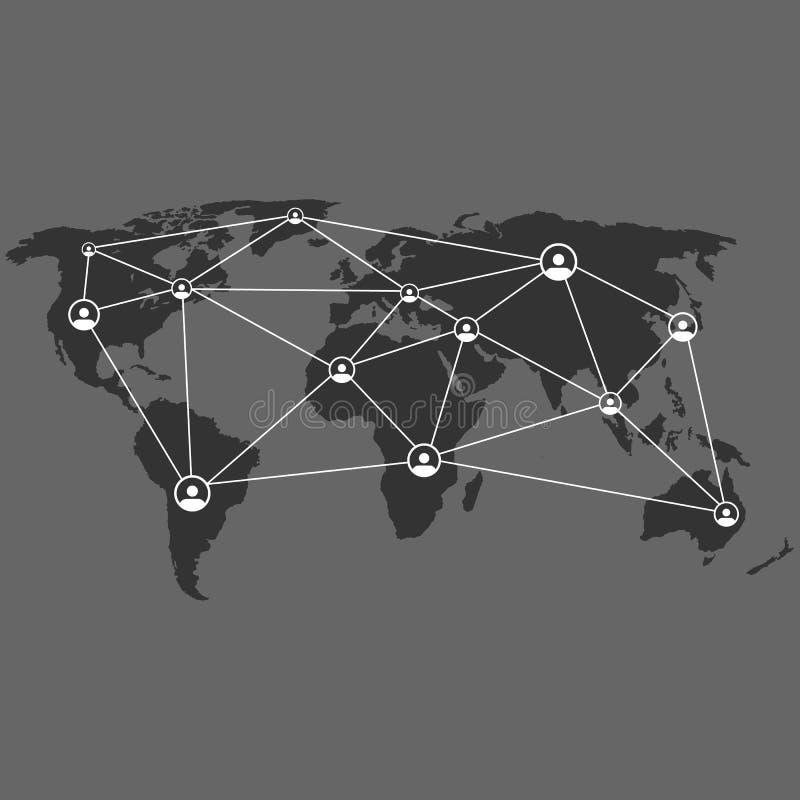 Wereldverbinding Punt en lijn van globale verbindingen Pictogrammen van verbonden gebruikers royalty-vrije illustratie