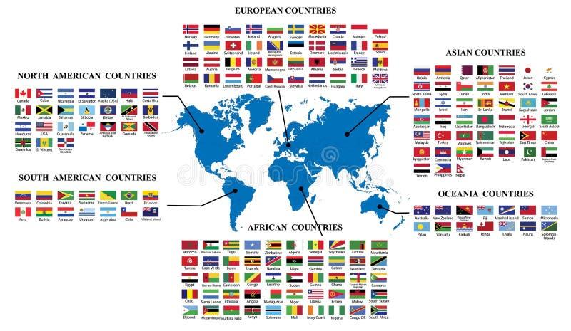Wereldvlaggen en wereldkaart royalty-vrije illustratie