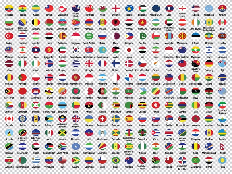 Wereldvlaggen inzameling-Rond gemaakte Vlaggen stock illustratie