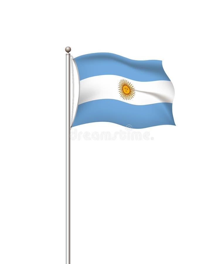 Wereldvlaggen Nationale de vlag post transparante achtergrond van het land argentini? Vector illustratie royalty-vrije illustratie