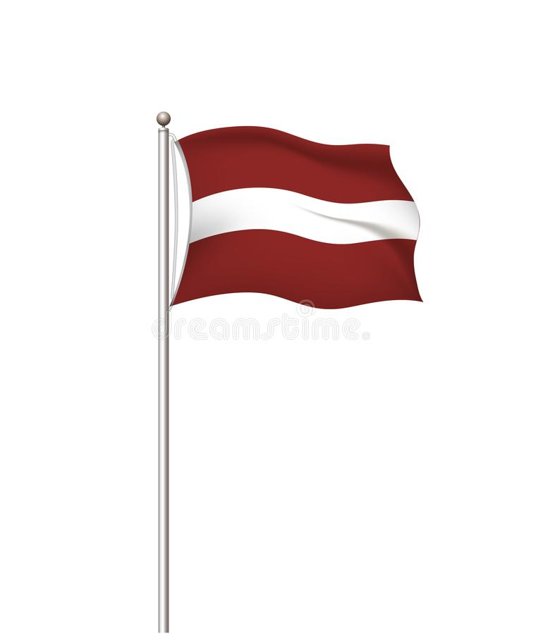 Wereldvlaggen Nationale de vlag post transparante achtergrond van het land letland Vector illustratie royalty-vrije illustratie