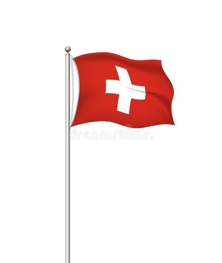 Wereldvlaggen Nationale de vlag post transparante achtergrond van het land Zwitsers zwitserland Vector illustratie vector illustratie