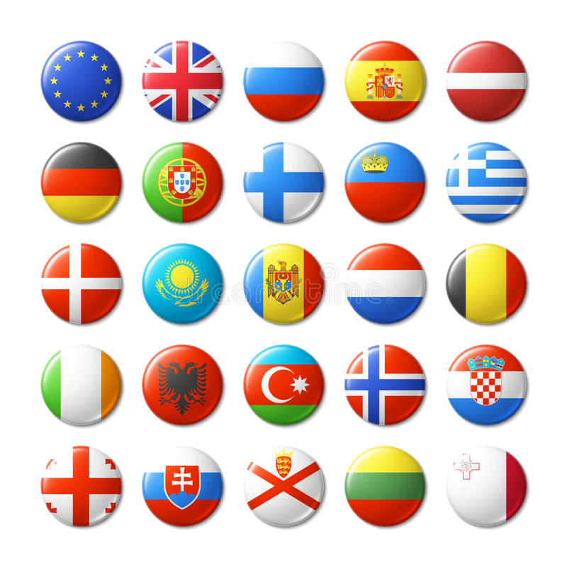 Wereldvlaggen om kentekens, magneten europa vector illustratie