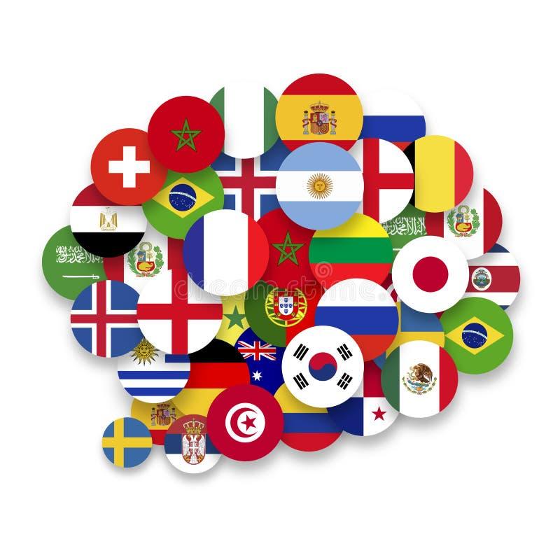 Wereldvlaggen in vorm van toespraakbel Wereldtalen Leer talenconcept royalty-vrije illustratie