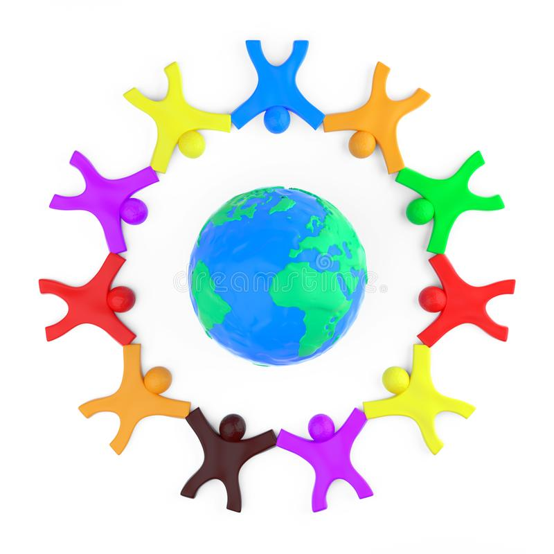 Wereldwijd communicatieconcept Plasticine Clay Colorful People ROND Earth Globe Modelling from Plasticine Blue and Green Clay royalty-vrije stock afbeeldingen