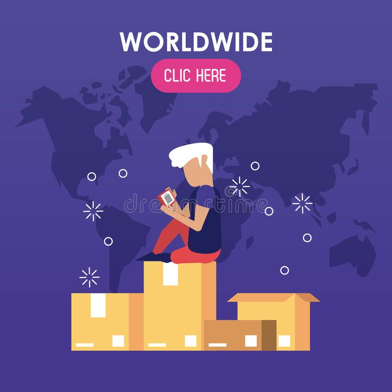 Wereldwijd klik hier vector illustratie