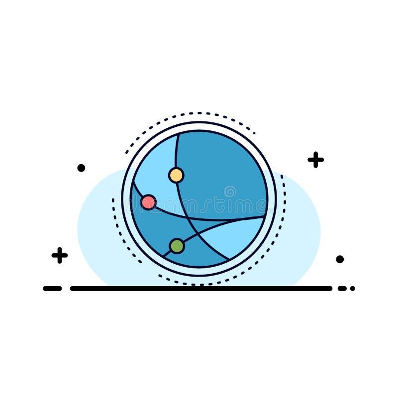 wereldwijd, mededeling, verbinding, Internet, het Pictogramvector van de netwerk Vlakke Kleur royalty-vrije illustratie