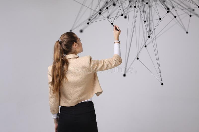 Wereldwijd netwerk of draadloos Internet-verbindings futuristisch concept Vrouw die met verbonden punten werken royalty-vrije stock afbeeldingen