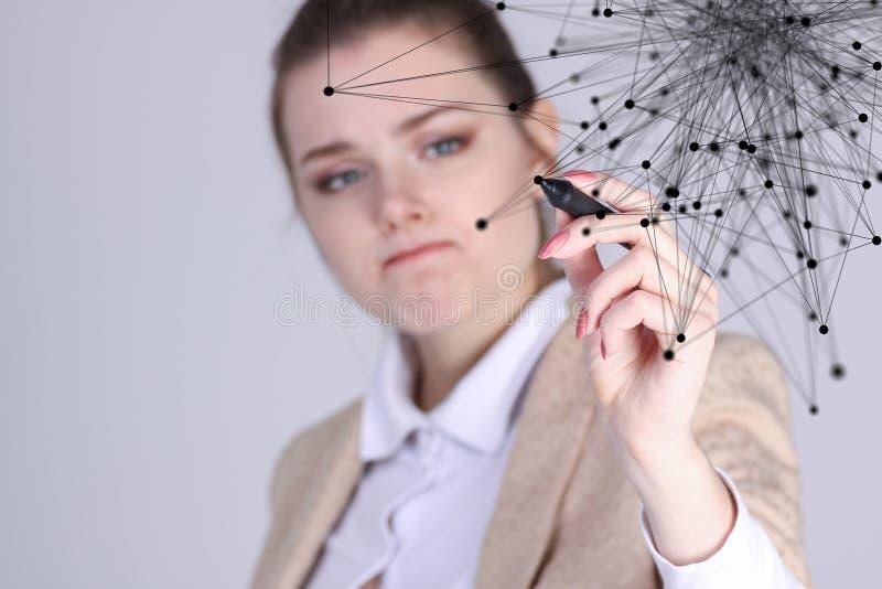 Wereldwijd netwerk of draadloos Internet-verbindings futuristisch concept Vrouw die met verbonden punten werken stock fotografie
