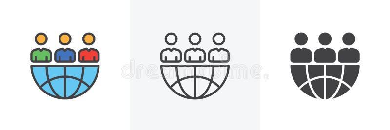 Wereldwijd partnerschap bedrijfspictogram royalty-vrije illustratie