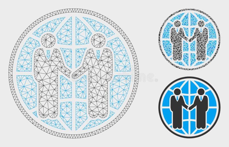 Wereldwijd partnerschap Vector het Mozaïekpictogram van Mesh Network Model en van de Driehoek vector illustratie