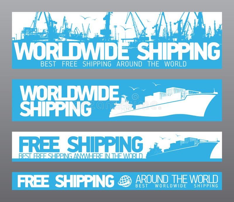 Wereldwijd vrije verschepende banners. vector illustratie