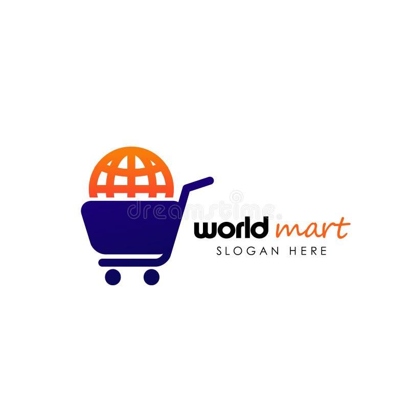 Wereldwinkel Logo Design Template het embleemontwerpen van de wereldmarkt stock illustratie