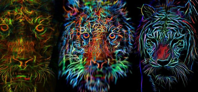 Werewolf & τίγρες διανυσματική απεικόνιση
