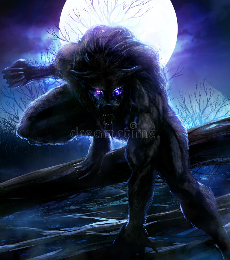 Werewolf. Angry werewolf illustration with night forest background vector illustration