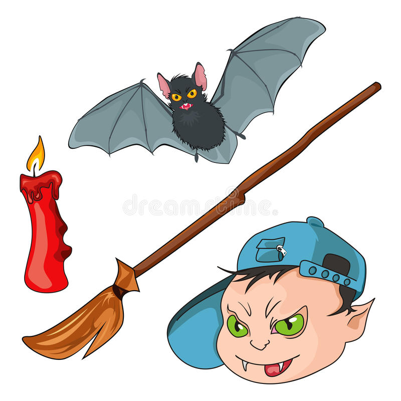 Werewolf, bat, candle and besom. The isolated badges representing objects used for a Halloween stock illustration