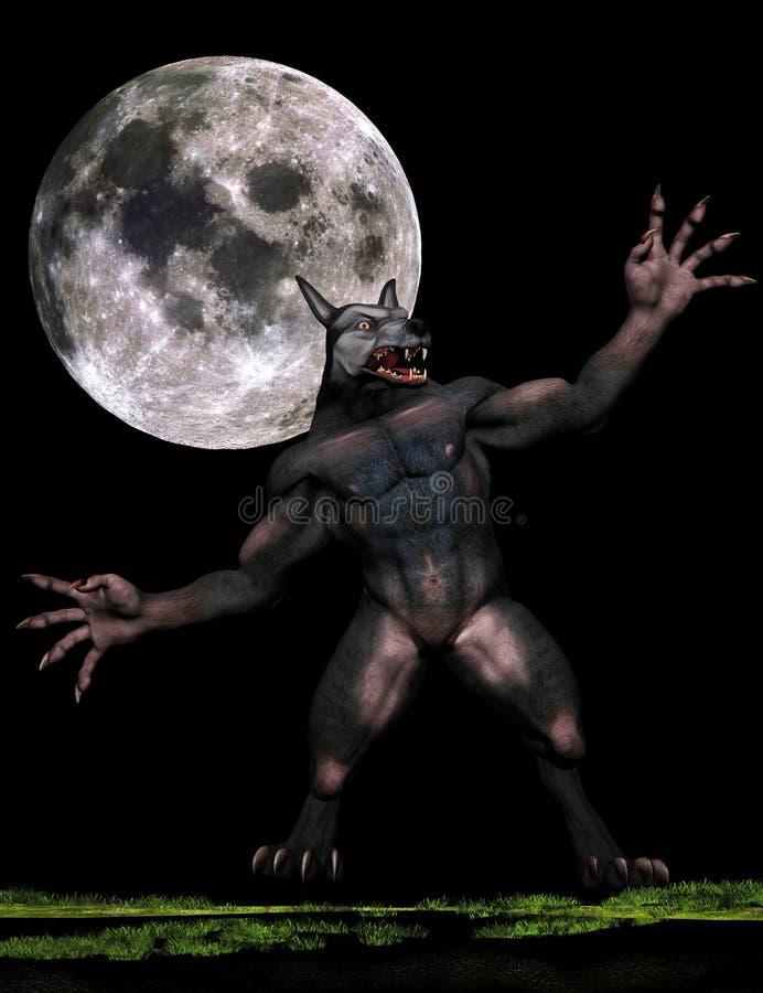 Werewolf and bright moon stock photo