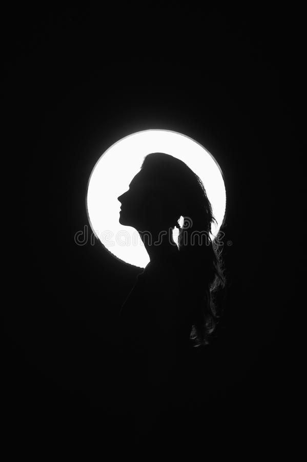Werewolf. Girl-wolf. The girl in the image of the wolf on the moon background stock photos