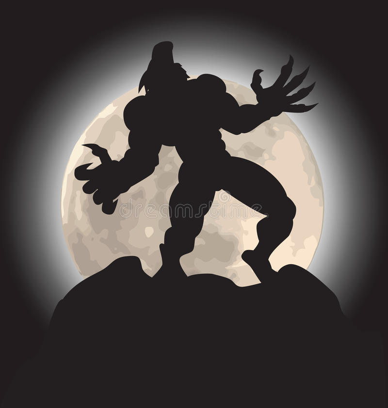 Werewolf howl silhouette vector illustration