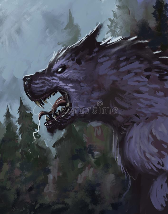 Free Werewolf In A Wooded Environment Growling At The Moon - Digital Fantasy Painting Royalty Free Stock Image - 159360666