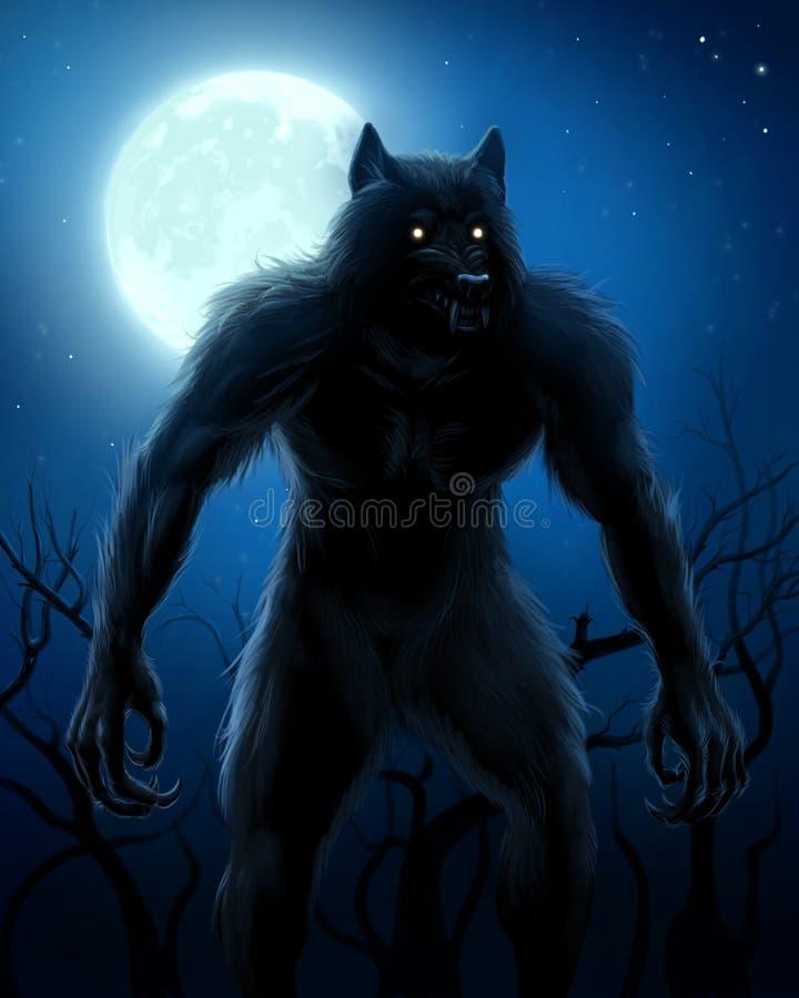 Werewolf und Mond stock abbildung