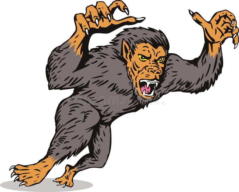 Werewolfangreifen lizenzfreie abbildung