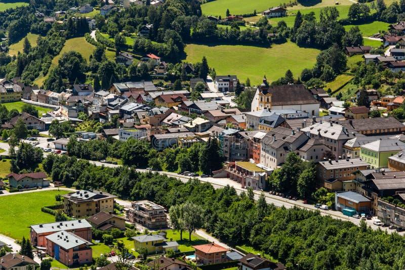 Werfen村庄的看法在奥地利 免版税库存图片