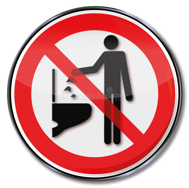 Werfen Sie keine Gegenstände unten in die Toilette lizenzfreie abbildung