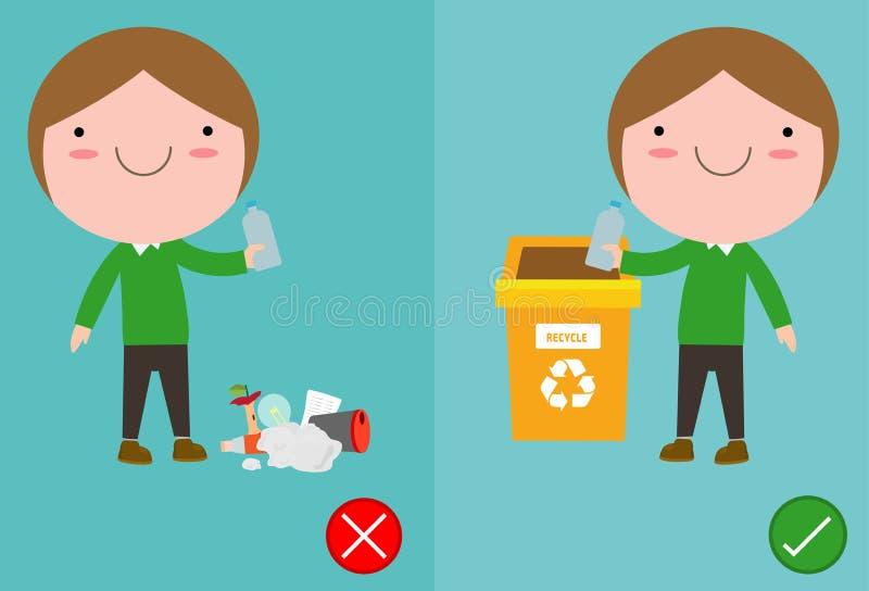 Werfen Sie nicht den Abfall von Kolben auf dem Boden, dem Unrecht und dem rechten, m?nnliche Rolle, die Sie das korrekte Verhalte vektor abbildung