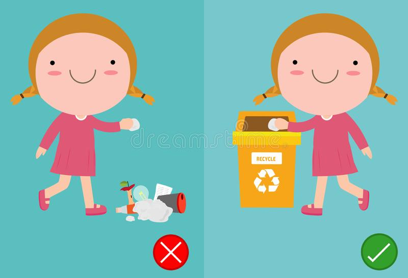 Werfen Sie nicht den Abfall von Kolben auf dem Boden, dem Unrecht und dem rechten, weibliche Figur, die Sie das korrekte Verhalte stock abbildung