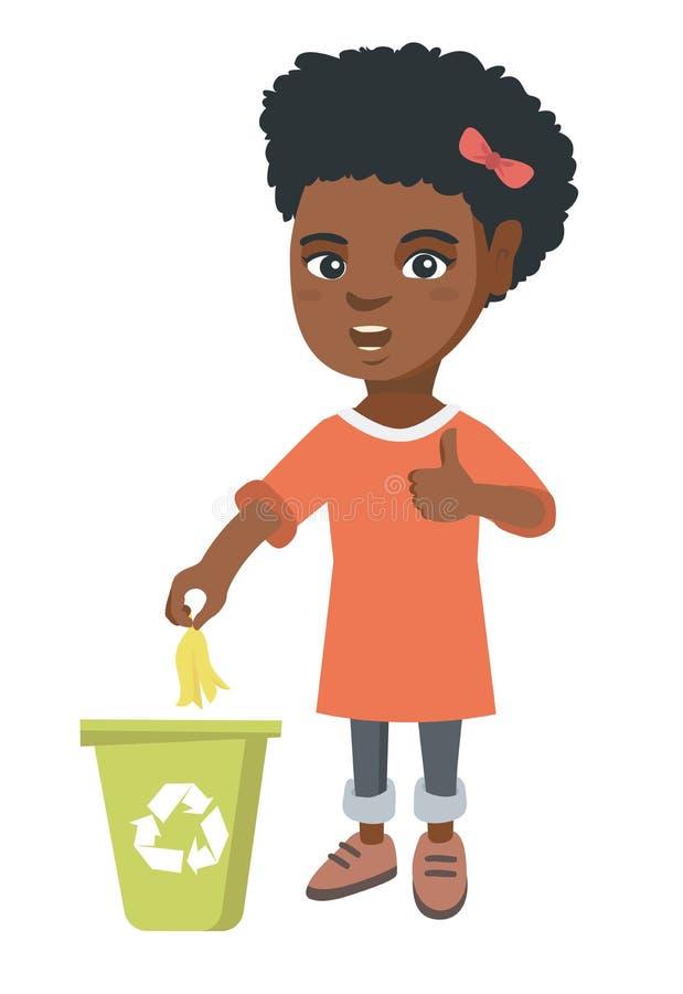 Werfende Bananenschale des kleinen Mädchens im Wiederverwertungsbehälter lizenzfreie abbildung