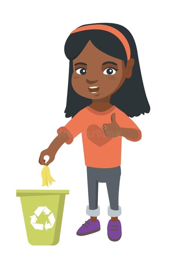 Werfende Bananenschale des kleinen Mädchens im Wiederverwertungsbehälter vektor abbildung