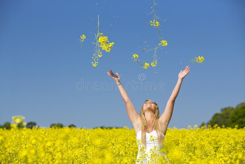 Werfende Blumen eines schönen aufgeregten Mädchens auf einem Gebiet von gelben Blumen stockfotografie