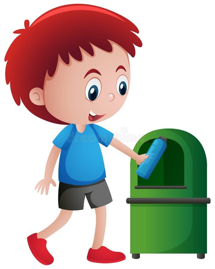 Werfende Flasche des Jungen in trashcan lizenzfreie abbildung