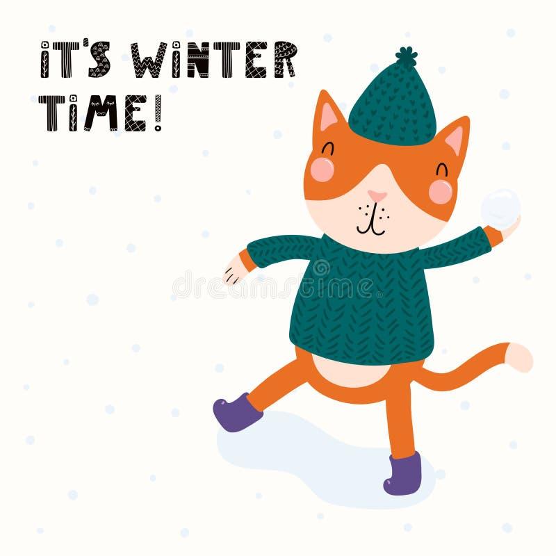 Werfender Schneeball der netten Katze stock abbildung