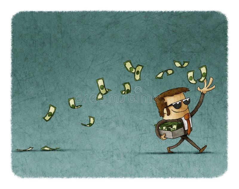 Werfendes Geld des Geschäftsmannes lizenzfreie abbildung