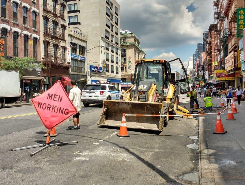 Werk in uitvoering in de Stad van New York, New York, de V.S. stock foto