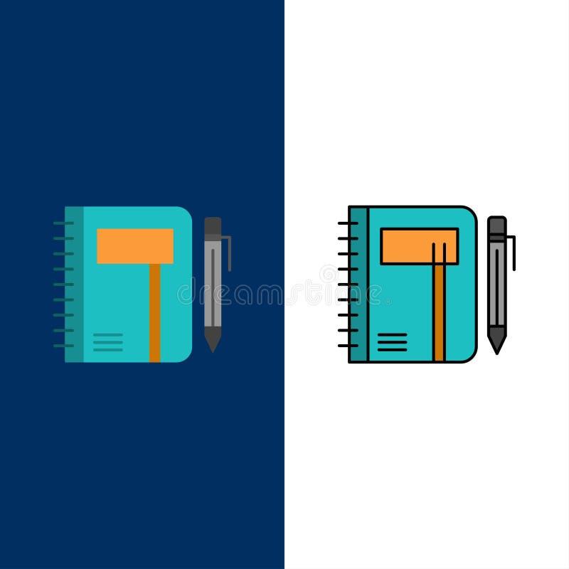 Werkboek, Zaken, Nota, Blocnote, Stootkussen, Pen, Schetspictogrammen Vlak en Lijn vulde Pictogram Vastgestelde Vector Blauwe Ach royalty-vrije illustratie