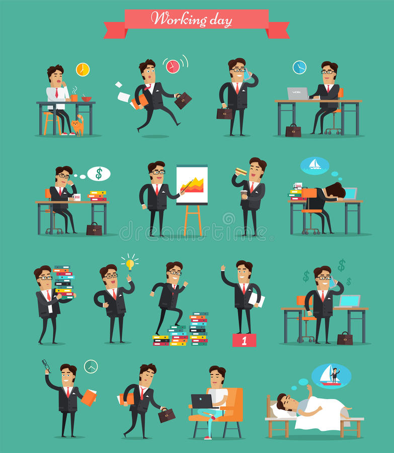 Werkdag in de Vectorreeks van Bureaukarakters royalty-vrije illustratie