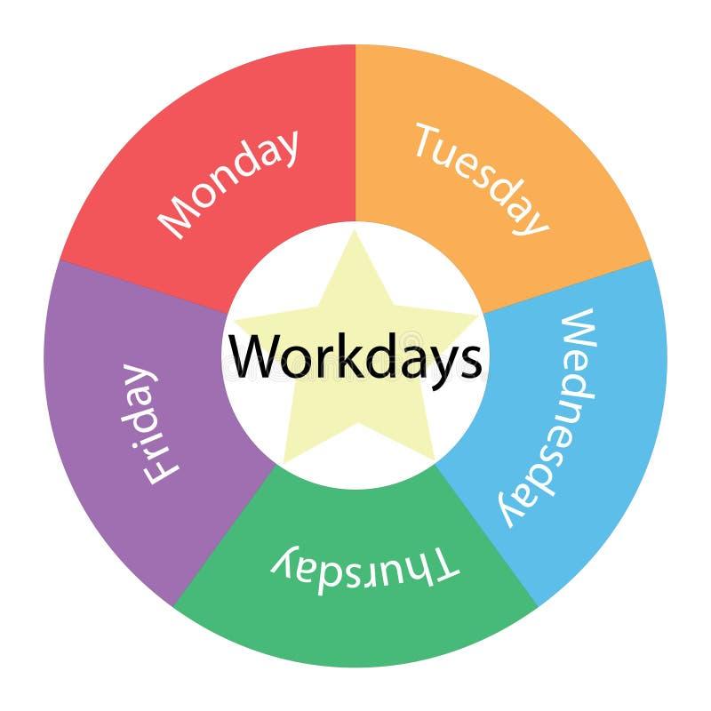 Werkdagen cirkelconcept met kleuren en ster stock illustratie