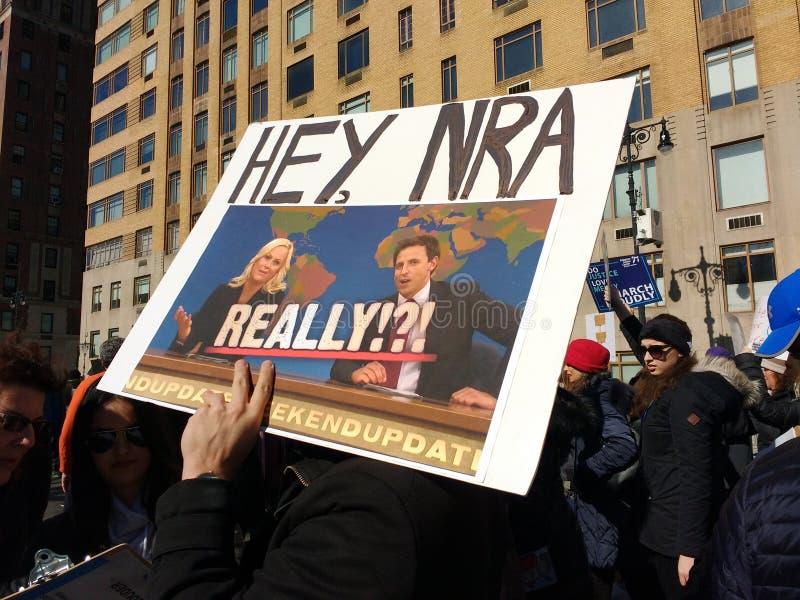 Werkelijk!?! NRI, Maart voor Ons Leven, Kanoncontrole, Protest, NYC, NY, de V.S. royalty-vrije stock afbeeldingen