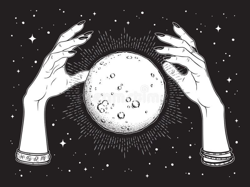 Werken de hand getrokken volle maan met stralen van licht in handen van de lijnkunst van de fortuinteller en de punt Boho elegant stock illustratie