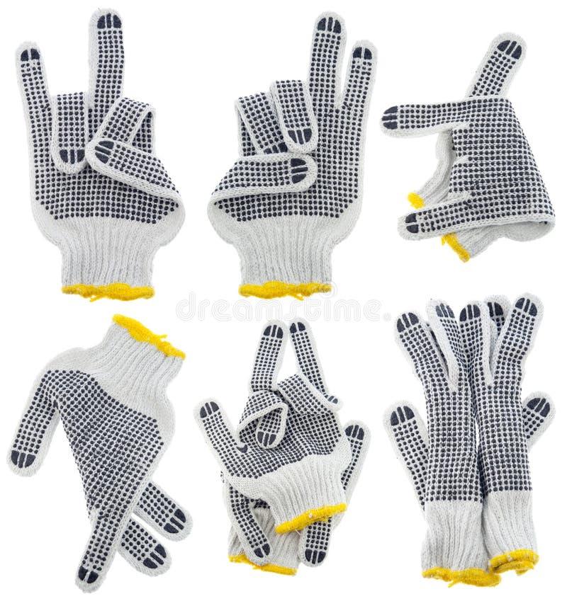 Werkende handschoenen, zeer vreemde geplaatste gebaren royalty-vrije stock fotografie