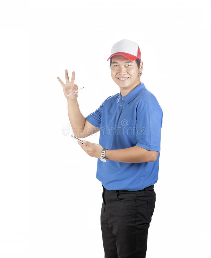 Werkende mens met slim telefoon en het schrijven ter beschikking toothy penhulpmiddel stock afbeelding