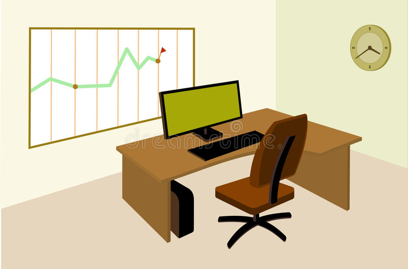 Werkende plaats in bureau met infographic op de muur royalty-vrije illustratie