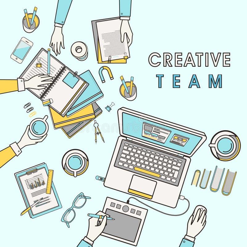 Werkende plaats van creatief team stock illustratie
