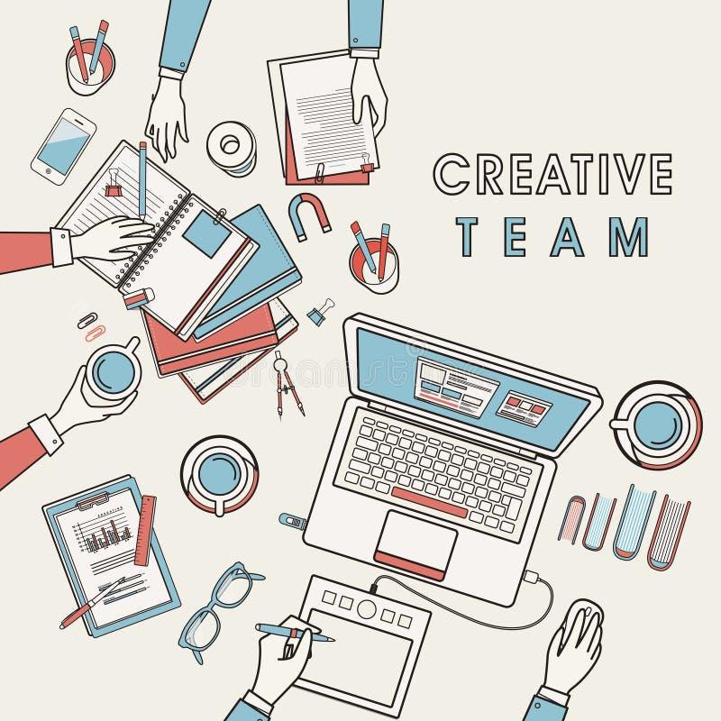 Werkende plaats van creatief team vector illustratie
