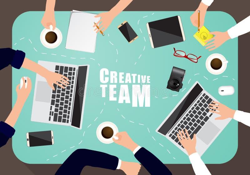 Werkende plaats van creatief team in vlak ontwerp stock illustratie